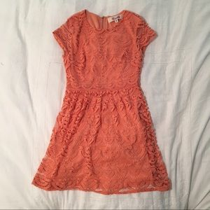 Anthropologie Coral / Peach Lace Dress